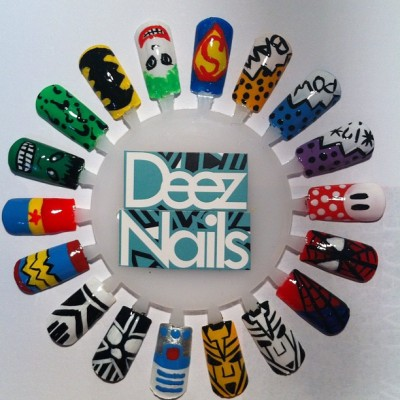 superhero/comic nails for @FanExpoCanada! #deeznails #nailart #nailswag #nails (Taken with instagram)