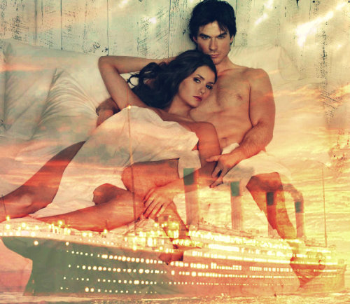 Elena and Damon in bed on the titanic.