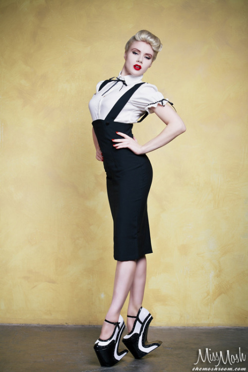 Posing for Bettie Page Shoes by Ellie - Vol 2 Catalog Photo by S.H. Photography - Clothing by Bettie Page
