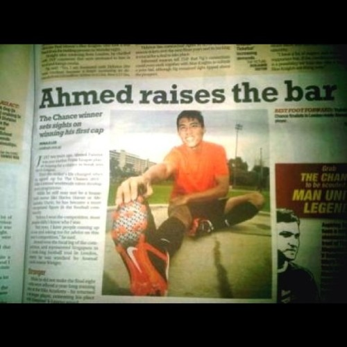 The brother in the newpaper today. Oh and its his birthday too. (Taken with instagram) Singapore's First Nike: The Chance Winner.