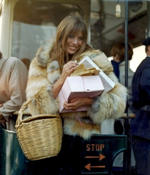 another bird of britain, the lovely jane birkin, patisserie shopping while wearing fur.