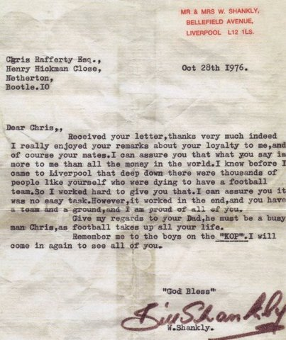 theredsgallery:  October 28 1976: A beautiful letter sent by Bill Shankly to a 13-year-old fan after he met him standing on The Kop. Letter provided by Bill Shankly's granddaughter Karen Gill.