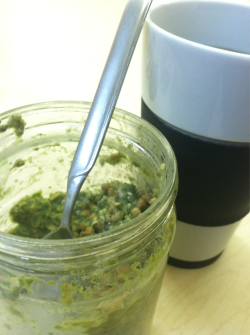 Dis my kale overnight oats, it's good! It's also grossin' out the kids at work. ;) Good morning EDIT: But! Hey, they got to eat green eggs and ham for Dr. Seuss' birthday…why don't I get to have green oats …whenever I want? Ya ya ya