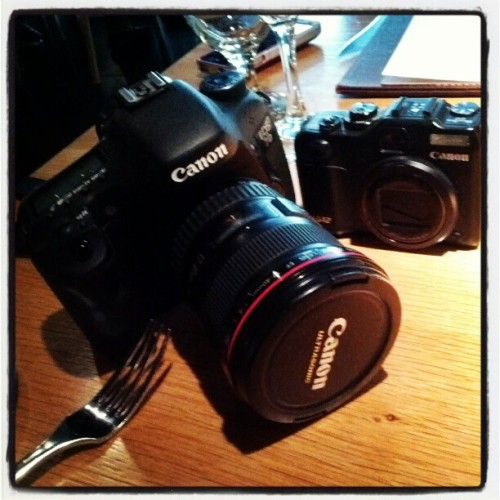 My Gear @ Work - G12 & 7D #Canon #Photography #DSLR (Taken with instagram)
