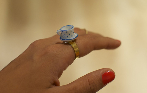 DIY Miniature Teacup Ring. Beyond easy. Lots of possibilities using miniatures from crafts' stores. Tutorial by a pair & a spare for Harper's Bazaar here.