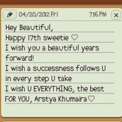 Happy Birthday Arstya Khumaira @Karstya (Taken with instagram)