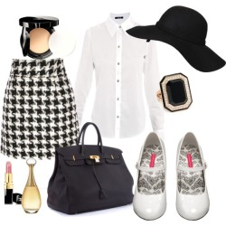Classic Lady by tashateacup featuring Chanel beauty productsFreda top, $239Pleaser pumps, $60Hermès tote bagIvanka Trump ring, $5,900Agent Ninetynine hat, $46Chanel lipstick, $33Christian Dior fragrance, £58Chanel beauty product, $58