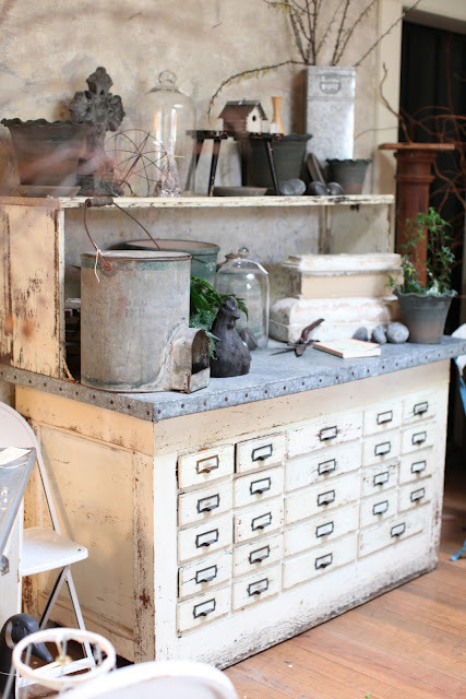 source: Dreamy Whites ~ oh how I love this zinc topped chest