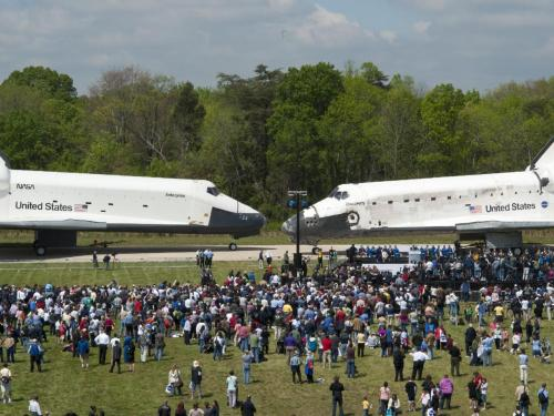 suburbanastronaut:  Space Shuttles Enterprise and Discovery, 19 April 2012