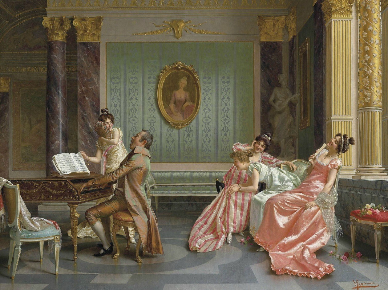 "The Recital by Vittorio Reggianini ""Born in Modena in 1858, Vittorio Reggianini trained in the local academy alongside Gaetano Bellei (see lot 61) and Eugenio Zamphighi (see lot 62). In 1885, he moved to Florence and it was during this period that the artist established a reputation for himself on the international art market. At this time, the artist's choice of subject matter and style dramatically shifted from the local historical realism that dominated his earliest work to the new Continental taste for more fanciful paintings that recreated the luxuriant lifestyles and opulent decor of the 18th Century."" (Christies auction: 19th Century European Paintings )"