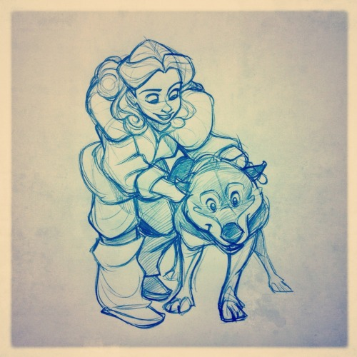 Gerda and a husky dog! Snow Queen sketch
