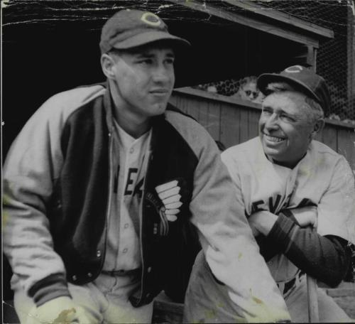 vintagecleveland:  Bob Feller and Indians Manager Ossie Vitt, 1940