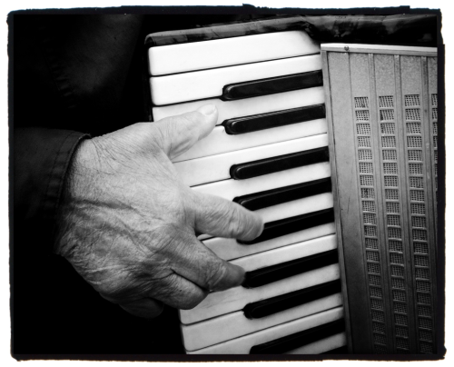 The Accordionist. My favourite busker was out on Princes St again and she let me photograph her hand.