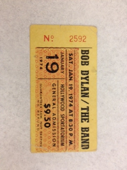 newsweek:  nprfreshair:  David Bianculli's ticket from a Dylan/The Band concert on Jan 19th 1974.