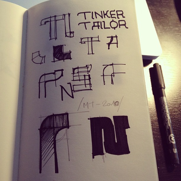 Type development sketches for the Tinker Tailor Soldier Spy poster I designed. (Taken with instagram)