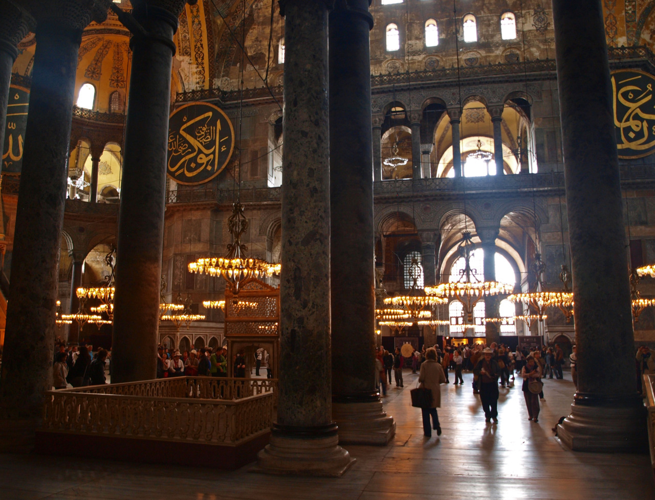 The Hagia Sophia- in Istanbul, Turkey. This church is so lovely that a Sultan built a building right next to it to try to upstage its beauty- the Blue Mosque! It's hard to say which is better, but both are worth a visit in Istanbul.