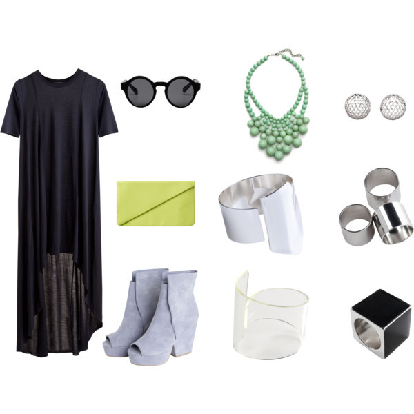 Simple but Chic by intoxicninja featuring Monki sunglasses MTWTFSS Weekday dress, $30MTWTFSS Weekday shoes, $50Monki clutch, €20LORD & TAYLOR earrings, $25MTWTFSS Weekday bracelet, $12MTWTFSS Weekday bracelet, $12Monki ring, €6Ring, $10Monki sunglasses, €10