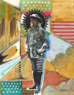 Buffalo Bill by Cheyenne Randall 11x14 mixed media on paper