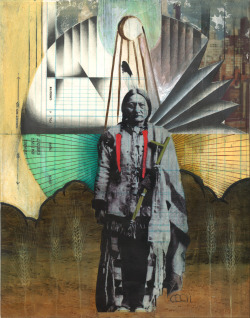 Sitting Bull by Cheyenne Randall 11x14 mixed media on paper