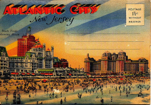 Atlantic City, Beach Front hotels, Vintage color postcard packet 1930s - 1940s by DominusVobiscum on Flickr.