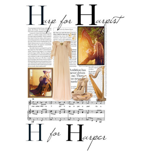 Harp for Harper. Harper is Harpist. by niusity featuring Alexander McQueen sandals