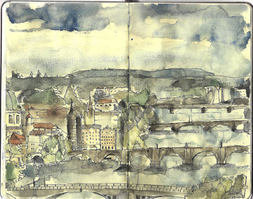 Prague on moleskine by BrainPlataform on Flickr.