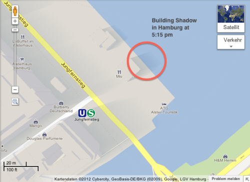 Google MapsGL - The shadows cast by the buildings are relative to the current position of the sun. /via Chaotic