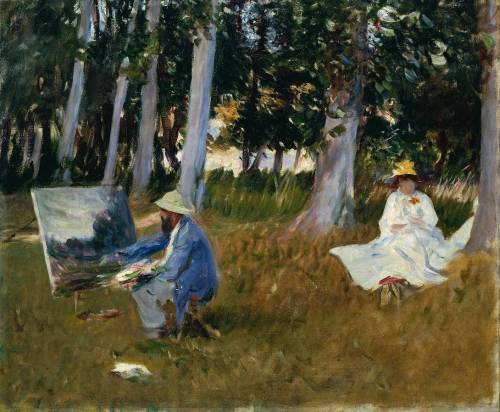 "artistandstudio:  John Singer Sargent, Claude Monet Painting by the Edge of a Wood, c. 1885 ""Sargent first met Monet in 1876, but the two artists were closest ten years later. It was probably in 1885 that they painted together at Giverny, near Paris."""