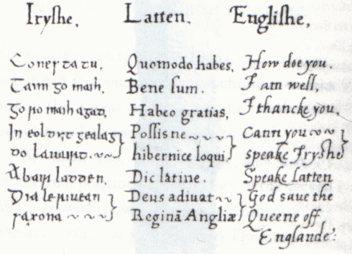 Irish/Latin/English phrasebook compiled for and used by Elizabeth I of England