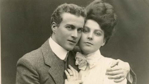mydaguerreotypeboyfriend:  Lionel Logue, age 26. Australian speech therapist responsible for the un-stammering of King George VI. Here he is with his future wife, 21-year-old Myrtle Gruenert. Suggestion by ljvera