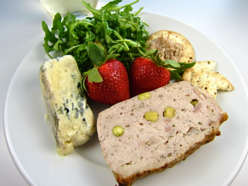 Pâté de campagne, St. Agur blue, rabbit rillettes, strawberries, and arugula