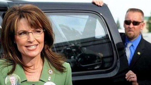 "Sarah Palin's Facebook stalker: Here's the photo of newly-retired Secret Service agent David Randall Chaney (one of the agents at the center of the Colombia prostitution scandal) with Sarah Palin which led him to write this on his Facebook page: ""I was really checking her out, if you know what i mean?"" Sometimes the jokes write themselves. EDIT: Palin has responded, saying ""I hope his wife kicks his o'coolie and sends him to the dog house."" Can't make this stuff up."