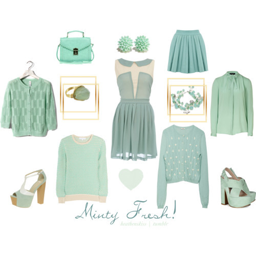 Minty Fresh! by heathenskiss featuring Piazza Sempione blouses