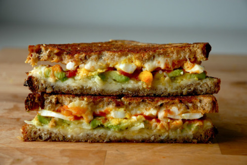basquavita:  capturedcravings:  Breakfast Grilled Cheese with Avocado, Boiled Egg, Sriracha, and Gouda