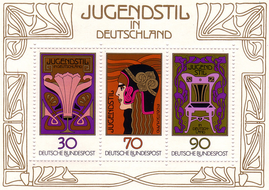 Jugendstil in Deutschland stamps, 1977 via So Much Pileup