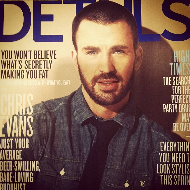 Chris Evans on the cover of @Details May issue! #fashion #instagram (Taken with instagram)