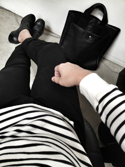 Outfit today: Ralph Lauren striped shirt Nobody black denim jeans Prada shoes Marc Jacobs pebbled leather tote bag