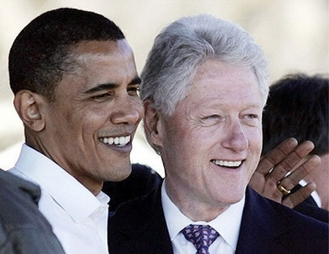 "How did Barack Obama become Bill Clinton? ""Because of Clinton's reputation as the father of the permanent campaign and Obamaland's disavowals of his techniques, it's tempting to regard the two most recent Democratic presidents as diametric opposites. In many ways, however, Obama's presidency has followed a remarkably Clintonian trajectory. Clinton also came into office hoping to bridge Washington's partisan divide. As Bob Woodward reported in his bookThe Choice, Clinton was stunned when Republicans told him they would vote en masse against his deficit plan only hours into his presidency. ""I didn't run for president to be a bare-fanged partisan,"" he told Woodward, before confessing that Republicans had turned him into one."" - Noam Scheiber, From Hope to Hardball Photo courtesy of blogspot"