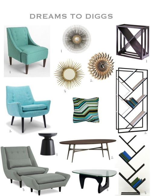 Starburst - 1 Crate & Barrel $199; 2 Design Within Reach $1,185; 3 Ballard $99 Chair - 1 Urban Outfitters $349; 2 Jonathan Adler $1,495; 3 Bloomingdales $2,100 Shelves - 1 ewineracks.com $99; 2 Factura $1,400; 3 Factura $520 Table - 1 West Elm $199; 2 Crate & Barrel $799; 3 Design Within Reach $1,499
