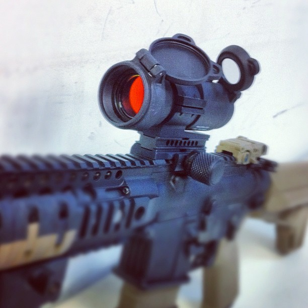 There you go @seanocean, Aimpoint PRO red dot on my M400 #tactical #weapons #guns #aimpoint (Taken with instagram)