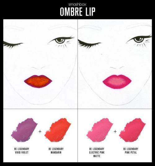 createthislookforless:  Ombre Lips Source: from Smashbox Cosmetics facebook page.
