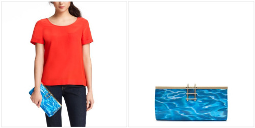"sarazucker:  YO, THIS KATE SPADE ""POOL PARTY"" CLUTCH REALLY LOOKS LIKE A POOL. IT COMES WITH A LADDER AND EVERYTHING. i am dead on the floor right now.  I can not go on living another day without this in my life."