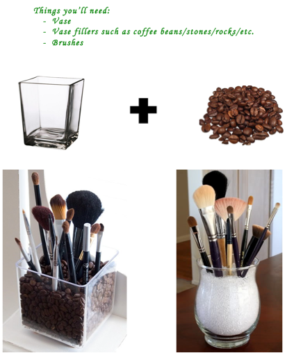 Want to find a better way to organize your makeup brushes?  This is a great way to achieve that!