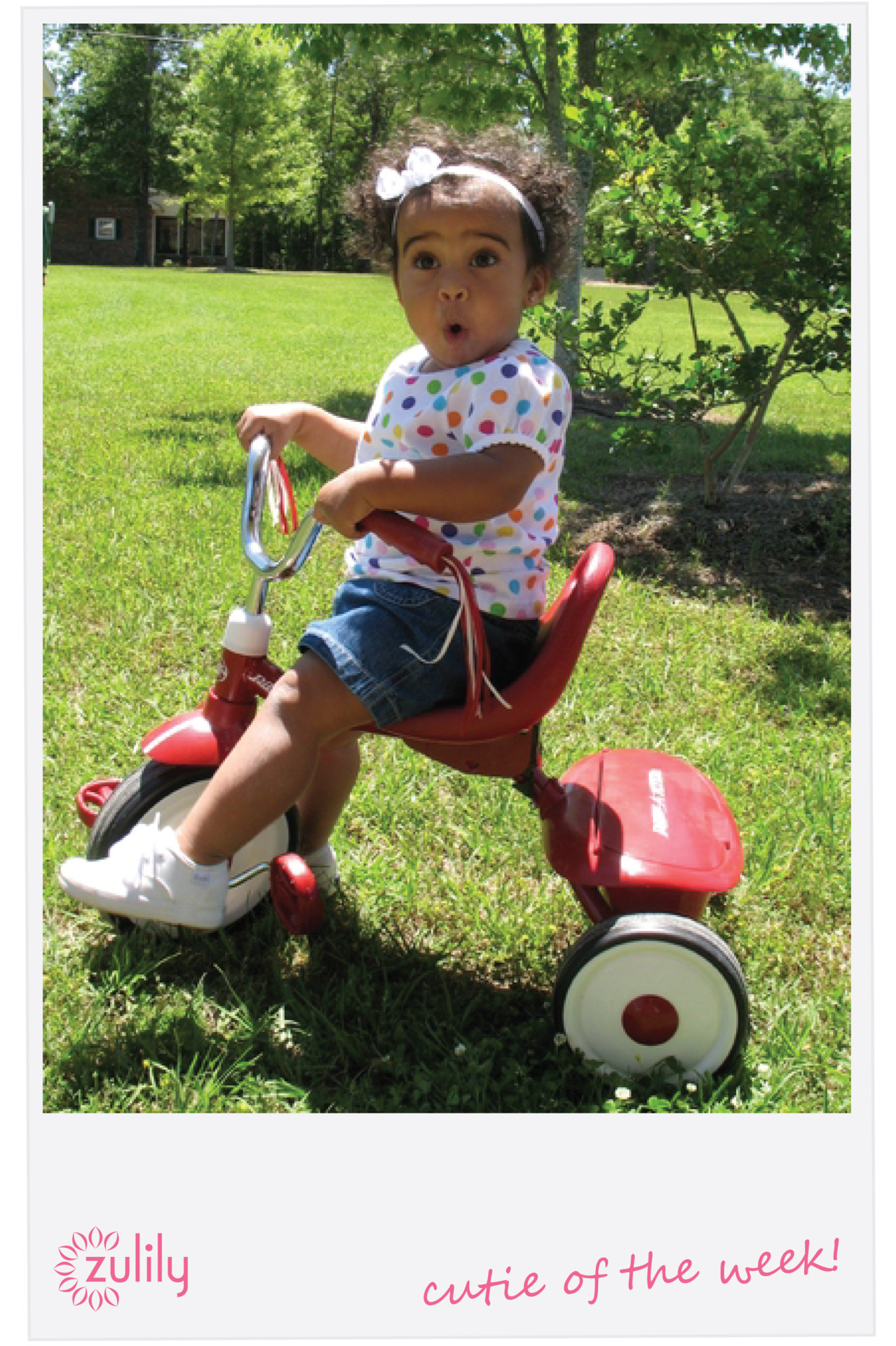 Nothing is better than a tricycle ride in the sun! Congrats to this little darling; looks like such a fun ride! Interested in submitting a snap of your cutie for a chance to win this week's contest? Simply submit on our zulily Cutie page here.