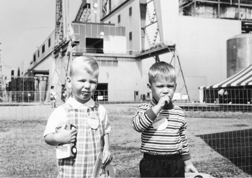 Visiting the Power Plant (1968) Two boys at Merrimack Station's Open House for Unit #2. 2012-06-15: We originally placed this photo at the original Merrimack Station open house in 1961. Eagled-eyed retiree James O'Gara noticed the transformer for Unit #2 in the background. As he points out, Unit #2 didn't come online until 1968!