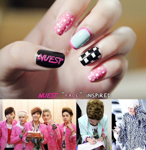 NU'EST Face inspired nails! Just a simple one because I've NOT been doin kpop nails for a loooooong time. Sorry I can't fulfil anyone's requests or answer all your questions. We read each and everyone of your messages though! P/S: ;~~~~~; I love NU'EST and.. and.. Baekho.. afjiajfiasfafaskf