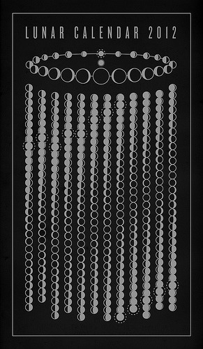 jtotheizzoe:  Lunar Calendar 2012 Stunningly simple, instantly informative. (©Michæl Paukner, his online shop)