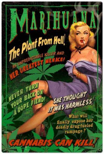 retrogasm:  Love the old ads telling us how harmful weed is.. yet NO ONE has EVER died from smoking it  go figure