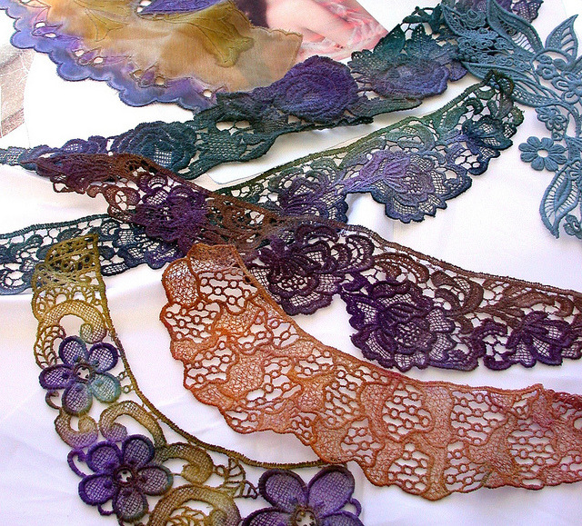 Dyed lace pieces by rosanna hope on Flickr.