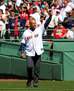 jerkasaurus:  BOSTON, MA - APRIL 20: Terry Francona, former manager of the Boston Red Sox, enters the field during 100 Years of Fenway Park activities before a game between the Boston Red Sox and the New York Yankees at Fenway Park April 20, 2012 in Boston, Massachusetts. (Photo by Jim Rogash/Getty Images)